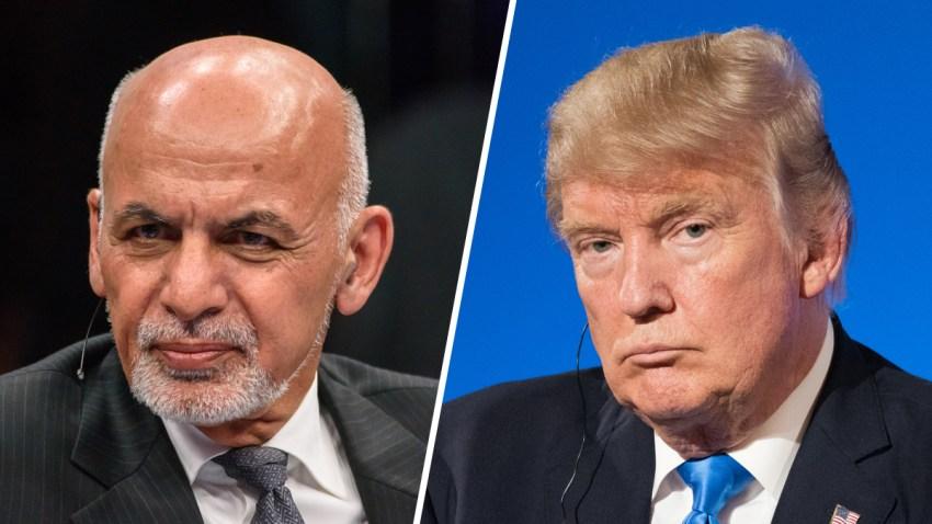 Combinación de fotografías del presidente de Afganistán, Ashraf Ghani, y el presidente Donald Trump.