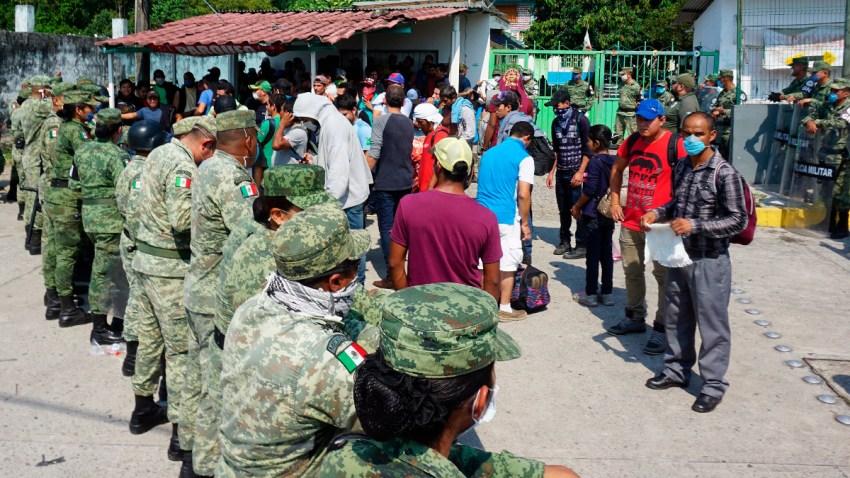 Migrantes en frontera sur de México