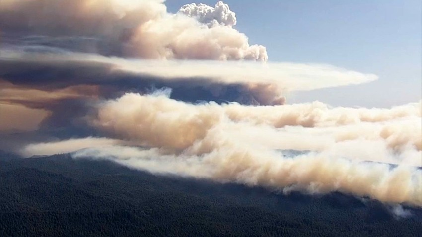 Smoke over the CZU Lightning Complex Fire.