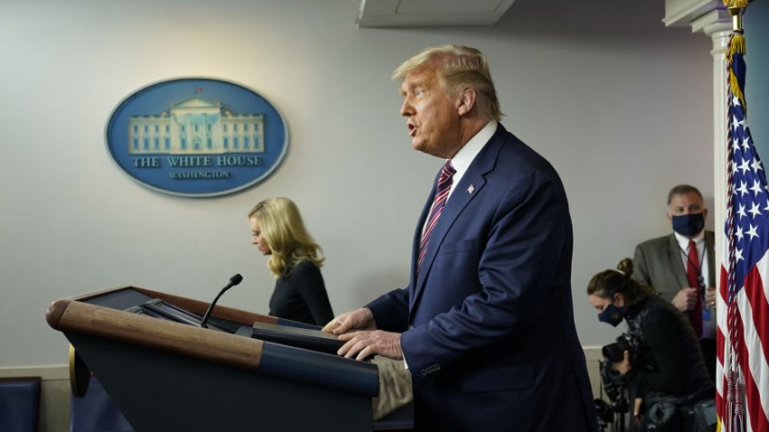 U.S. President Donald Trump speaks during a news conference in the James S. Brady Press Briefing Room at the White House in Washington, D.C., U.S., on Thursday, Nov. 5, 2020.