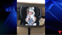 Una madre grabó a su pequeño de pocos meses cuando pasaban por la máquina de lavado de autos por primera vez.